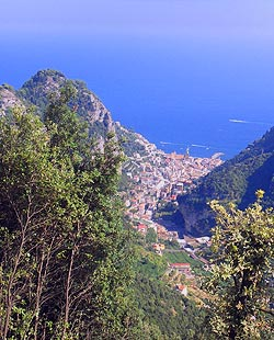 View of Amalfi from cliffs